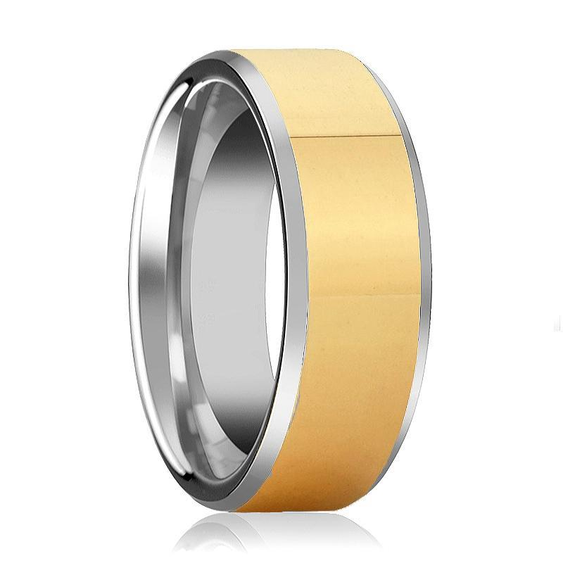 Aydins Mens and Womens Tungsten Carbide Wedding Band Ring Polished Gold Center Beveled Edge 6mm, 8mm - AydinsJewelry