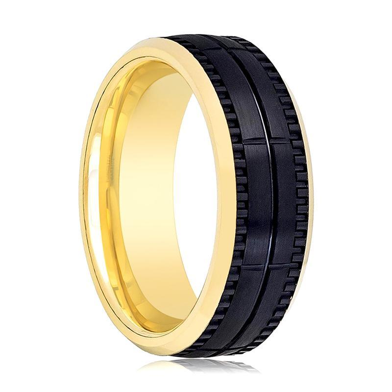 Aydins Gold & Black Tungsten Wedding Ring Brushed 8mm Mens Tungsten Wedding Band - AydinsJewelry