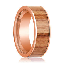 Mens Wedding Band Polished Flat 14k Rose Gold Wedding Ring with Red Oak Wood Inlay  - 8mm - AydinsJewelry