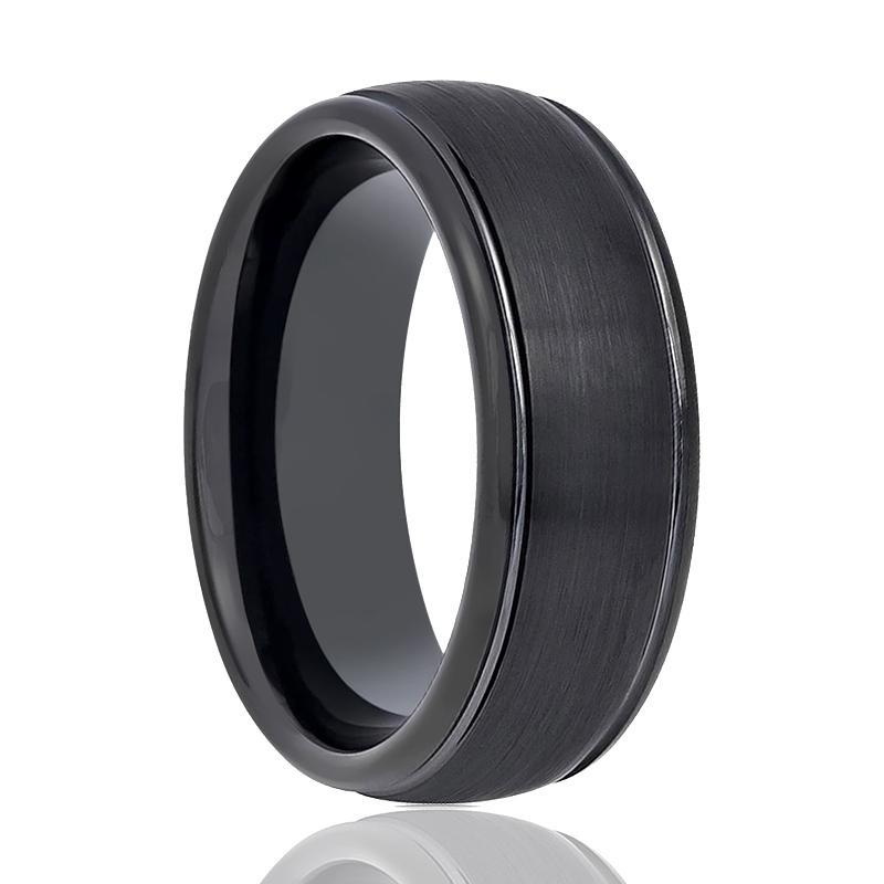 Aydins Tungsten Ring Black Brushed Center Wedding Band 6mm, 8mm High Polished Edge Tungsten Carbide Wedding Ring - AydinsJewelry