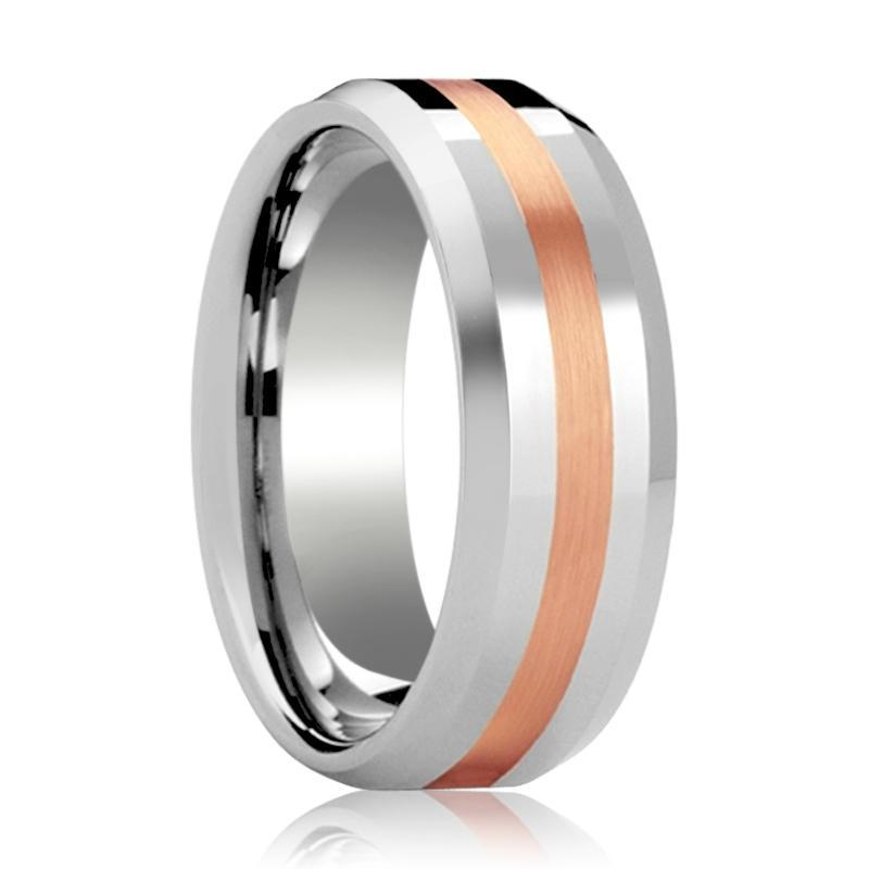 Tungsten Wedding Ring with 14k Rose Gold Stripe Inlay Beveled Edge Polished Finish 6mm, 8mm