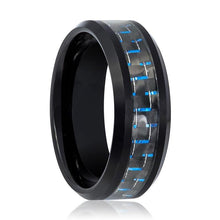 Tungsten Ring Black Shiny Polished w/ Blue Carbon Fiber Inlay