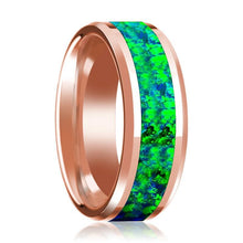 Green & Blue Opal Inlay Beveled Edge Mens Wedding Band 14K Rose Gold Polished Design - AydinsJewelry