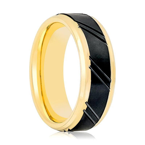 Aydin's Gold & Black Men's Tungsten Wedding Band - AydinsJewelry