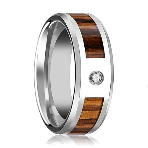 Tungsten Wood Ring - Real Zebra Wood Inlay - Diamond Wedding Band - Tungsten Wedding Band - Polished Finish - 8mm - Tungsten Wedding Ring - AydinsJewelry