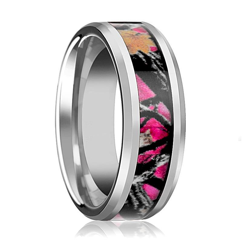 Tungsten Camo Ring - Pink Oak Leaves Camouflage - Tungsten Wedding Band - Beveled - Polished Finish - 6mm - 8mm - Tungsten Wedding Ring - AydinsJewelry