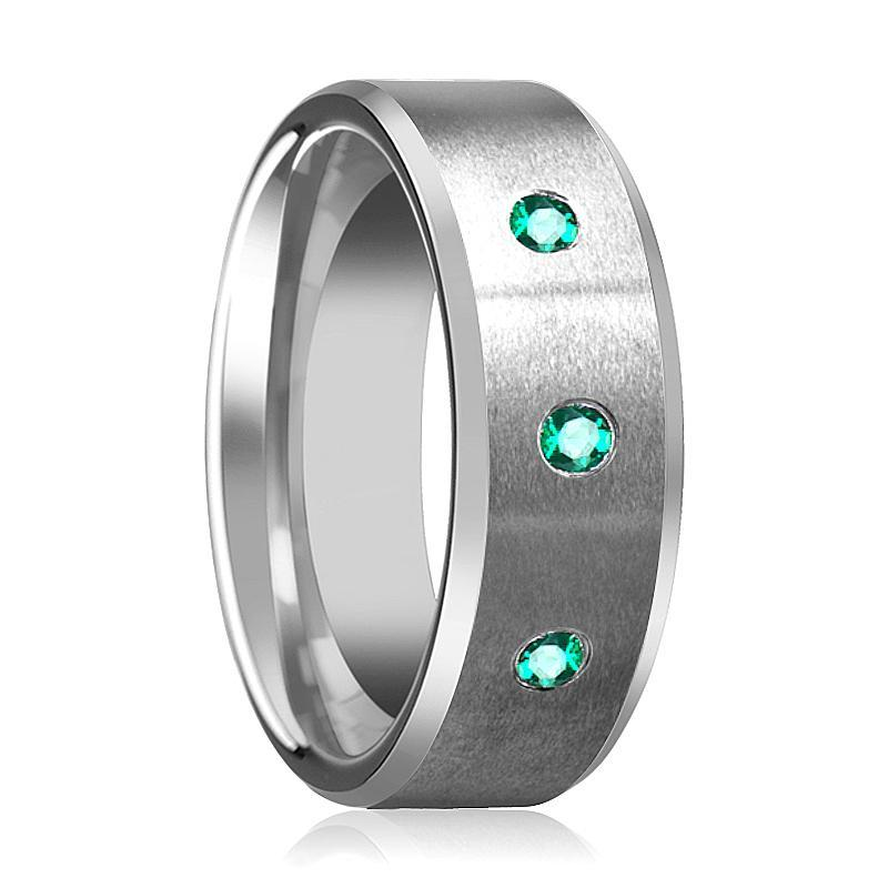 LEVI Green Emerald Beveled Edge Tungsten Ring