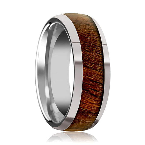 Tungsten Wood Ring - Exotic Black Walnut Wood - Tungsten Wedding Band - Polished Finish - 8mm - Tungsten Wedding Ring - AydinsJewelry