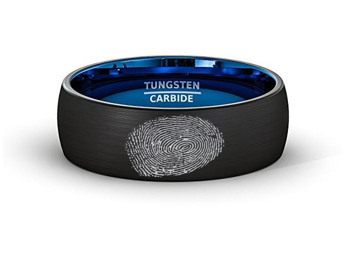 Finger Print Laser Engraved Mens Wedding Band Two Tone Black Blue Tungsten Ring Brushed Center Dome 8mm Comfort Fit - AydinsJewelry