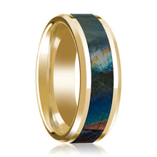 14K Yellow Gold Wedding Ring Inlaid with Spectrolite Beveled Edge Polished Design - AydinsJewelry
