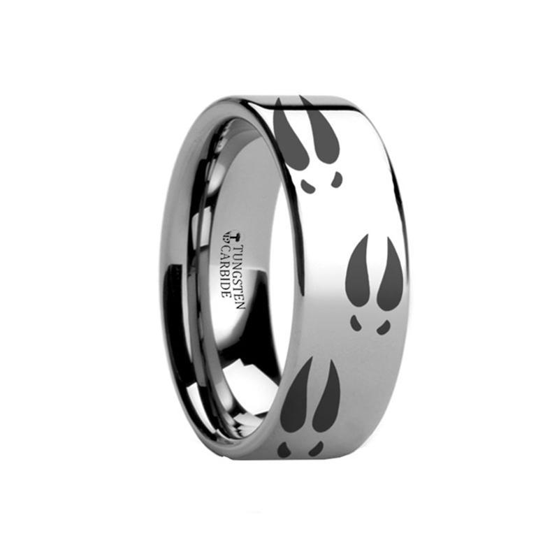 Animal Design Ring - Deer Print - Deer Track -  Laser Engraved - Flat Tungsten Ring - 4mm - 6mm - 8mm - 10mm - 12mm - AydinsJewelry