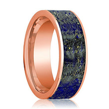 Mens Wedding Band 14K Rose Gold with Blue Lapis Lazuli Inlay Flat Polished Design - AydinsJewelry