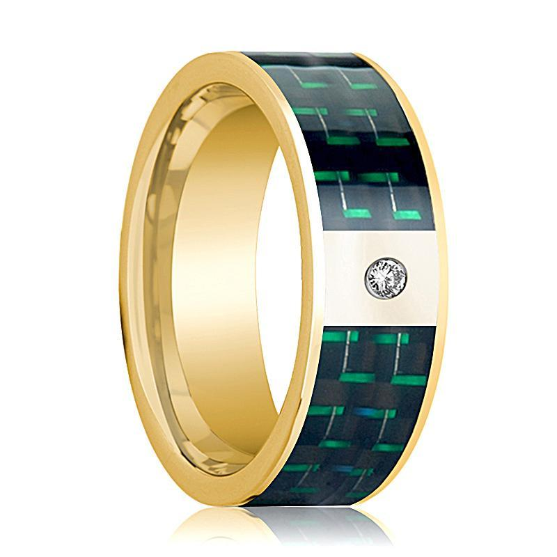 Mens Wedding Band 14K Yellow Gold and Diamond with Black & Green Carbon Fiber Inlay Flat Polished Design - AydinsJewelry