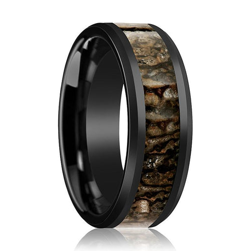 CADMUS Brown Dinosaur Bone Ceramic Ring Inlaid - AydinsJewelry