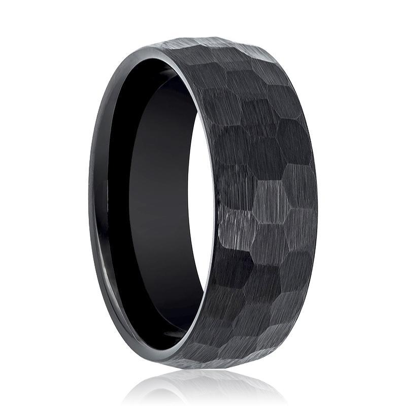 Hammered Tungsten Wedding Band Black