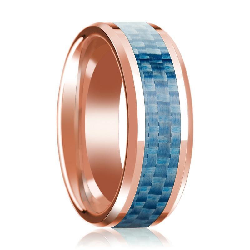14K Rose Gold Mens Wedding Band with Blue Carbon Fiber Inlay Beveled Edge Polished - AydinsJewelry