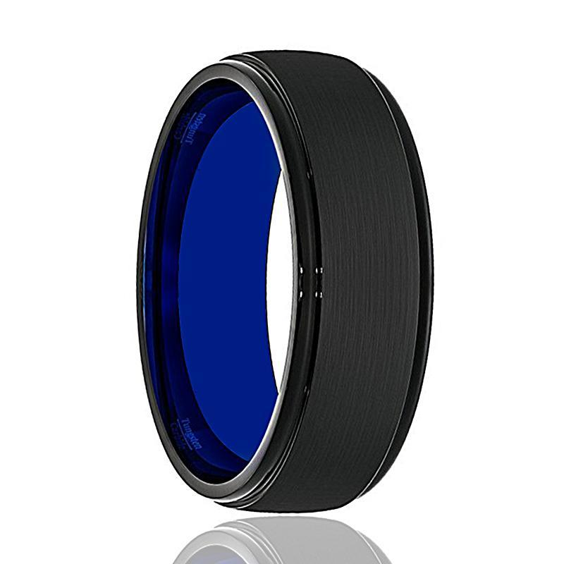 Tungsten Wedding Band - Mens Wedding Band - Black Tungsten Brushed Center Stepped Edge - Tungsten Wedding Ring - Man Tungsten Ring - 8mm - AydinsJewelry