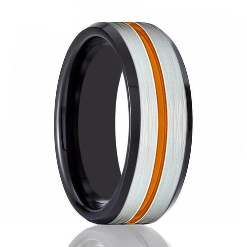 ZORRO Orange Grooved Tungsten Wedding Ring