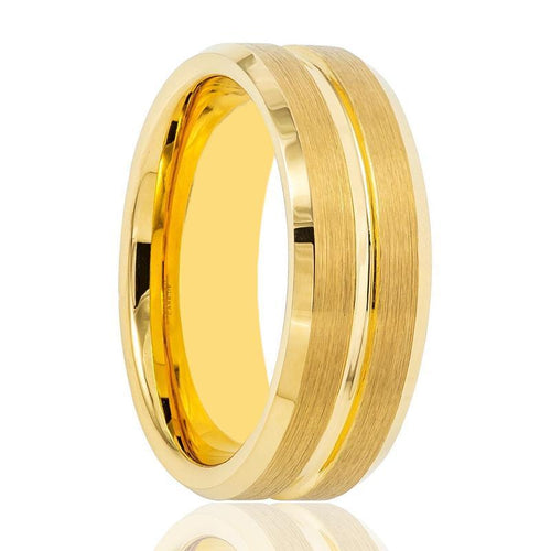 Aydins Gold Tungsten Wedding Ring Gold Groove Brushed w/ Polished Beveled Edges 8mm Mens Tungsten Wedding Band - AydinsJewelry