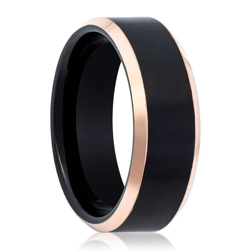 Black and Rose Gold Beveled Edge Tungsten Men's Wedding Band - AydinsJewelry