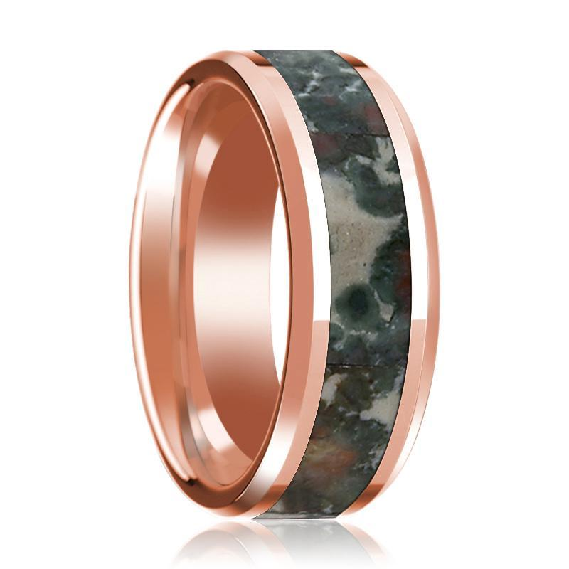 Rose Gold 14k Wedding Band with Coprolite Fossil Inlay Beveled Edge and Polished Design