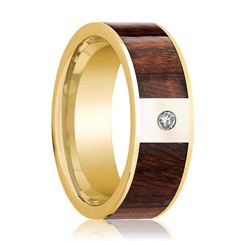 Mens Wedding Band 14k Yellow Gold Polished Flat Wedding Ring with Carpathian Wood Inlay & Diamond - 8mm - AydinsJewelry