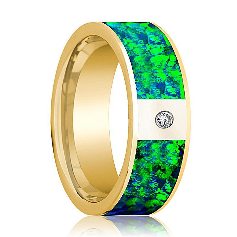 Mens Wedding Band 14K Yellow Gold with Emerald Green and Sapphire Blue Opal Inlay and Diamond Flat Polished Design - AydinsJewelry