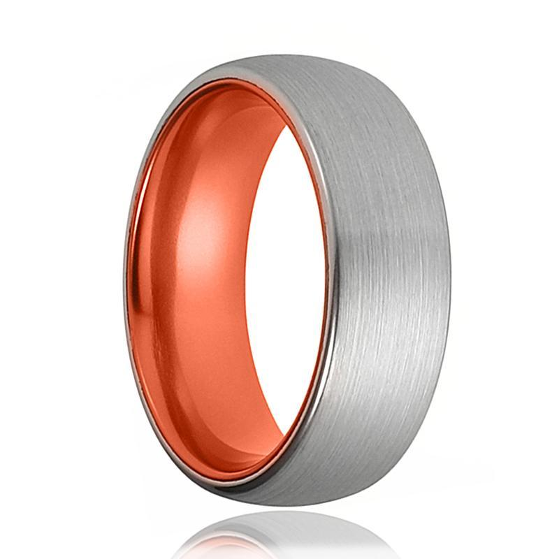 Tungsten Orange Ring - Mens Wedding Band - Silver Tungsten Brushed - Atomic Orange Tungsten - Tungsten Wedding Ring - Man Tungsten Ring - AydinsJewelry