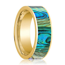 Mens Wedding Band 14K Yellow Gold with Mother of Pearl Inlay Flat Polished Design - AydinsJewelry