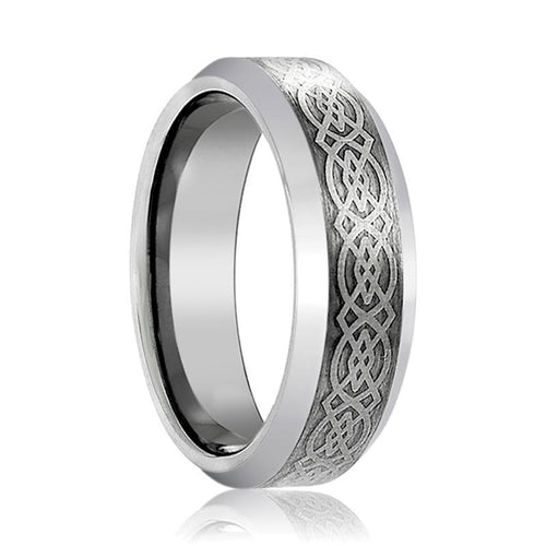 Aydins Silver Mens Tungsten Band Celtic Design Center 6mm - 8mm Tungsten Carbide Wedding Ring - AydinsJewelry