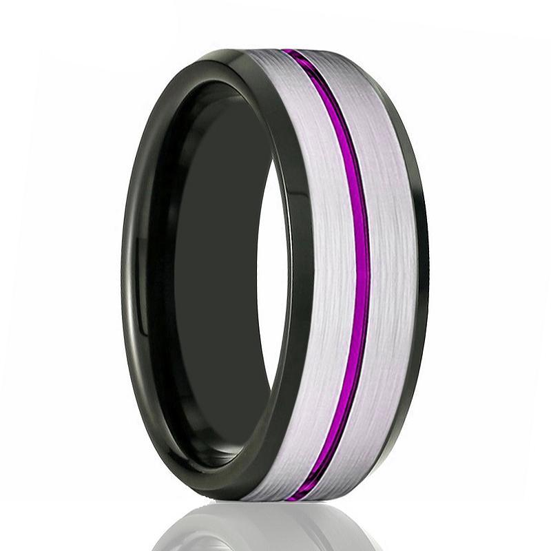 SWOOSH Purple Grooved Black Tungsten Wedding Band