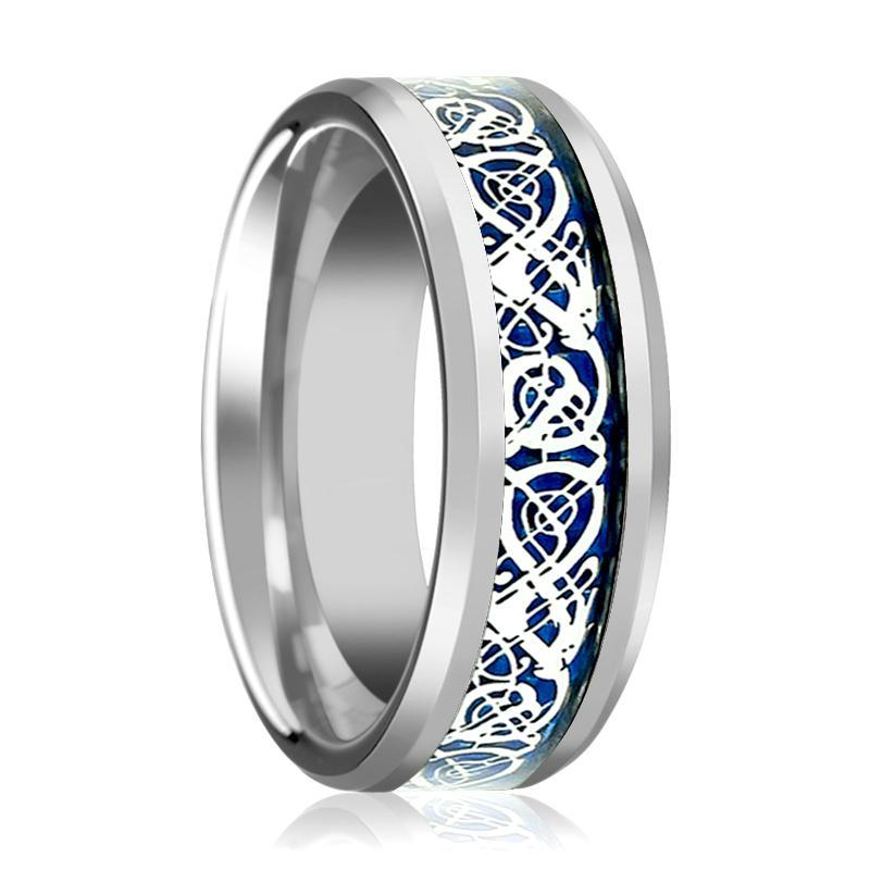 Aydins Tungsten Wedding Band Polished w/ Blue Celtic Dragon Inlay 8mm Tungsten Carbide Ring - AydinsJewelry
