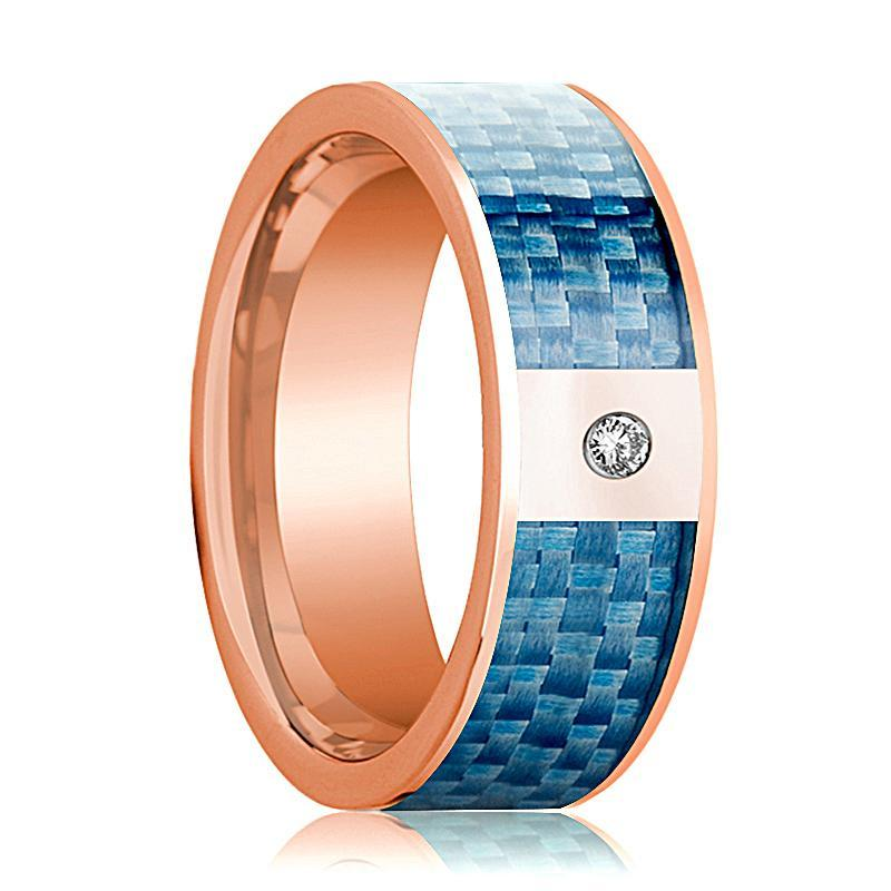 Mens Wedding Band 14K Rose Gold and Diamond with Blue Carbon Fiber Inlay Flat Polished Design - AydinsJewelry