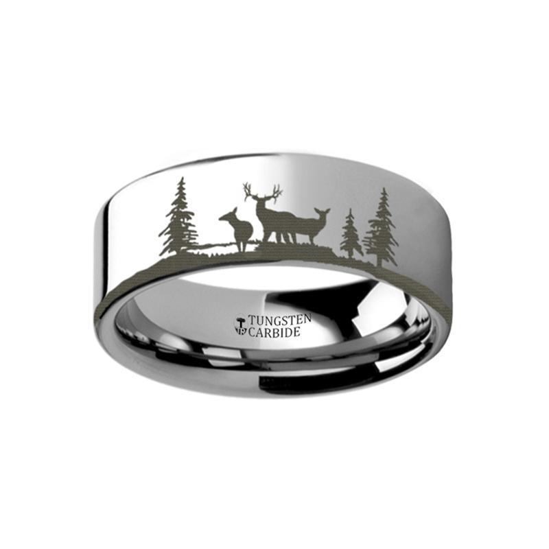 Animal Landscape Scene - Deer Stag Mountain Range Ring - Laser Engraved - Flat Tungsten Ring - 4mm - 6mm - 8mm - 10mm - 12mm - AydinsJewelry