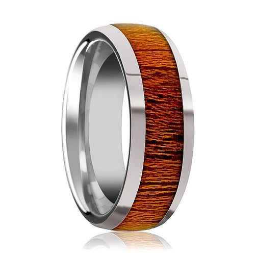 Tungsten Wood Ring - Mahogany Wood - Tungsten Wedding Band - Polished Finish - 8mm - Tungsten Wedding Ring - AydinsJewelry