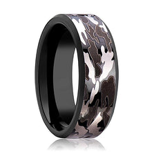 Camo Wedding Band - Black Tungsten - Black and Gray Camo  - Tungsten Wedding Band - Beveled - Polished Finish - 8mm - Tungsten Wedding Ring - AydinsJewelry
