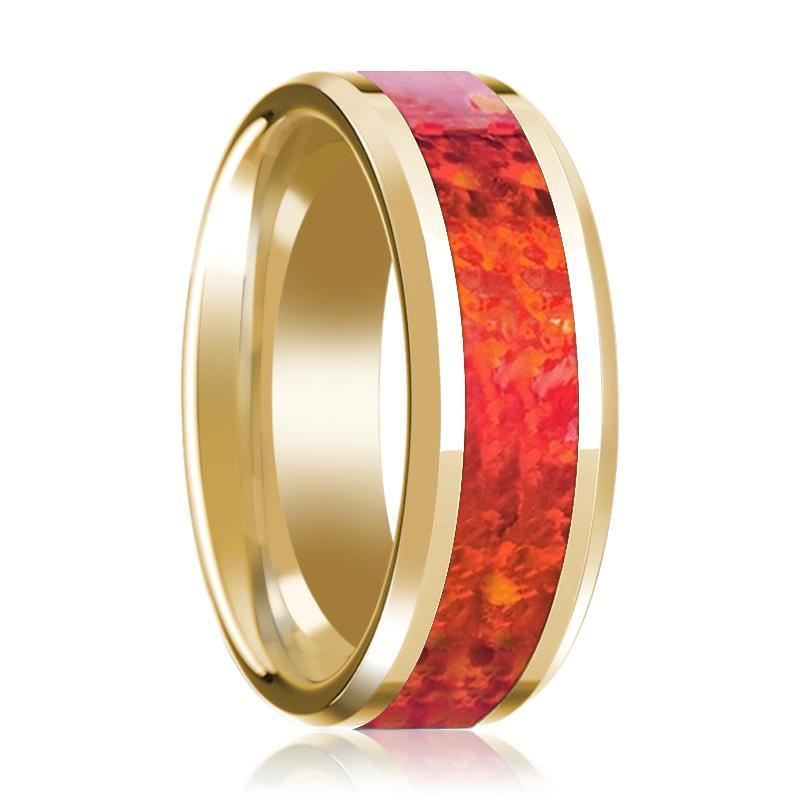 Mens Wedding Ring 14K Yellow Gold with Red Opal Inlay Beveled Polished Band