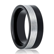Aydins Tungsten Mens Wedding Band Two Tone Silver & Black Brushed  8mm Tungsten Carbide Ring - AydinsJewelry