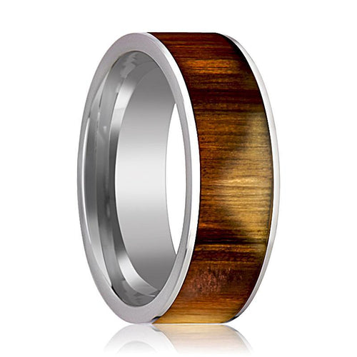 Tungsten Wood Ring - Olive Wood Inlay - Tungsten Wedding Band - Polished Finish - 8mm - Tungsten Wedding Ring - AydinsJewelry