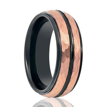 Aydins Rose Gold Hammered Center & Black Grooved Tungsten Wedding Ring for Men 8mm Stepped Edge Tungsten Carbide Wedding Band - AydinsJewelry