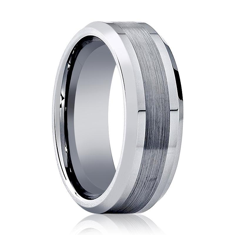 Aydins Mens Tungsten Wedding Band Brushed Center 6mm 8mm Tungsten Carbide Ring - AydinsJewelry