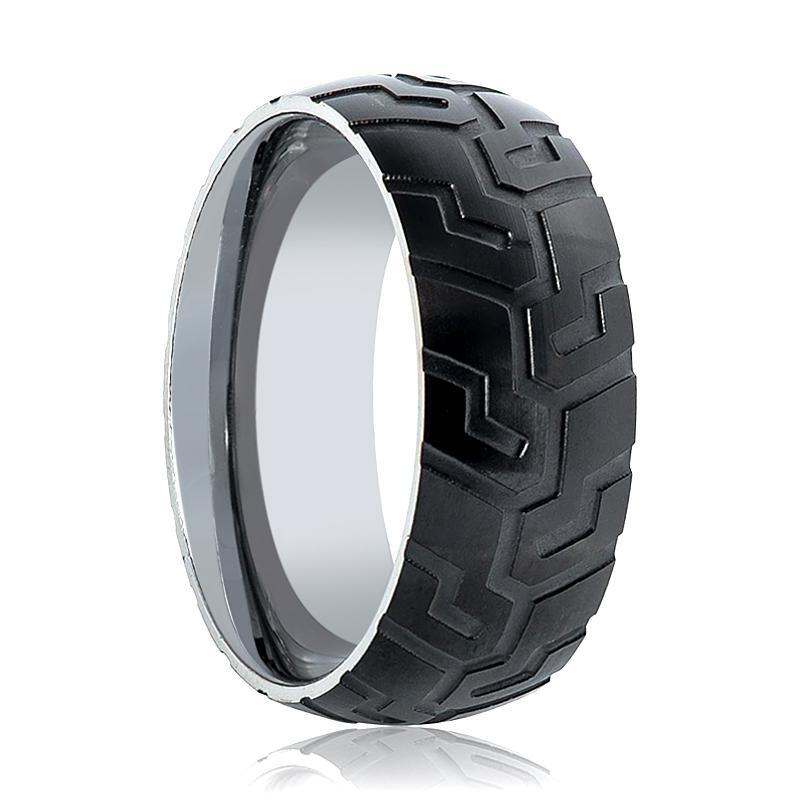 Aydins Mens Tungsten Wedding Band Tire Tread Laser Carved Pattern 9mm Tungsten Carbide Ring - AydinsJewelry