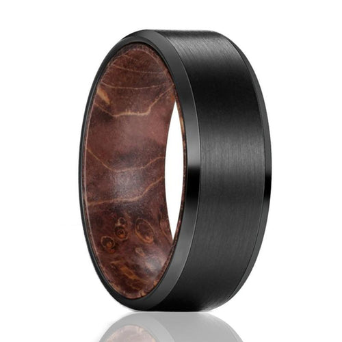 ZINGER Tungsten Dark Box Elder Wood Ring--Men's Wedding Band