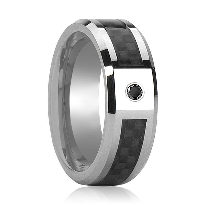 BRAHMA Black Diamond Wedding Band Silver and Black Tungsten - AydinsJewelry