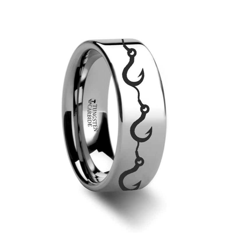 Sea Pattern - Multiple Fishing Hook - Sea Print Ring - Laser Engraved - Flat Tungsten Ring - 4mm - 6mm - 8mm - 10mm - 12mm - AydinsJewelry
