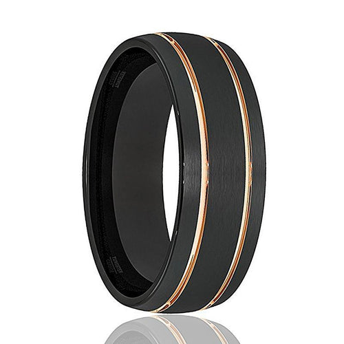 BLADE Rose Gold Double Groove Tungsten Wedding Ring - AydinsJewelry