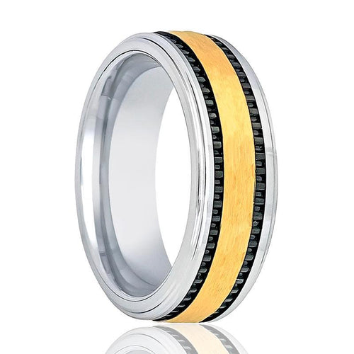 Aydin's Gold & Silver Tungsten Wedding Band - AydinsJewelry