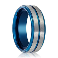Blue Tungsten and Silver Brushed Grooved Tungsten Carbide Ring - AydinsJewelry