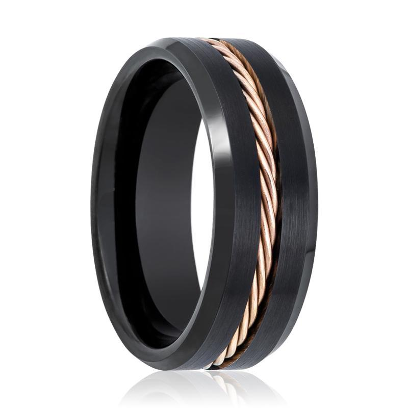 Brushed Tungsten Mens Wedding Band Black w/ Rose Gold Rope - AydinsJewelry