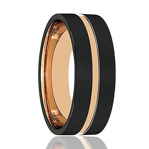 Mens Wedding Band - Tungsten Wedding Band - Rose Gold Groove Flat Edge  - Tungsten Wedding Ring - Man Tungsten Ring - 8mm - AydinsJewelry